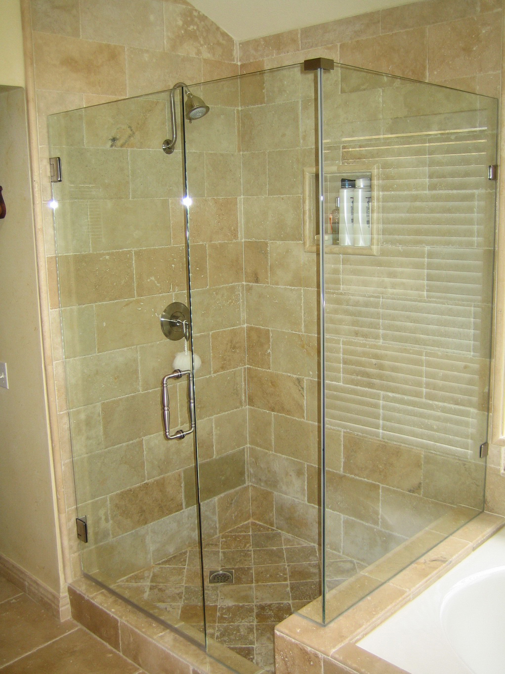 : Creative frameless corner shower doors featured top frameless glass shower doors bathroom decorating ideas for small bathrooms
