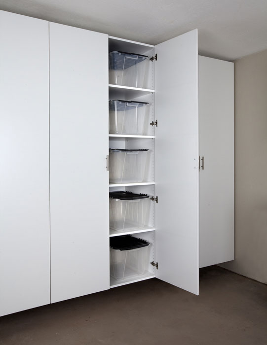 : fitted white storage cabinet with doors