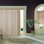 : sliding french patio doors with white blinds for windows treatment