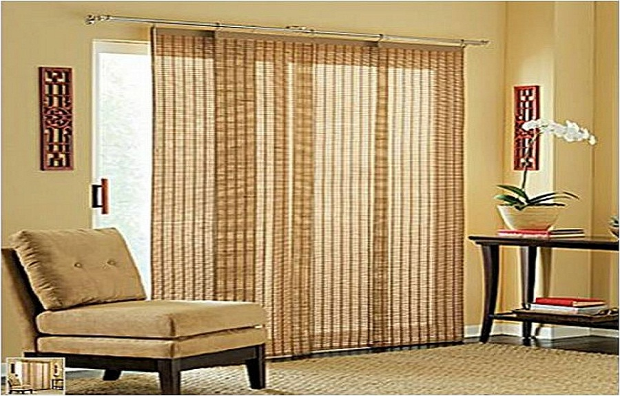sliding glass door for patio design with blinds