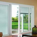 : sliding patio doors with blinds between the glass