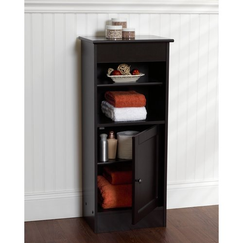 : small black wooden storage cabinet with doors
