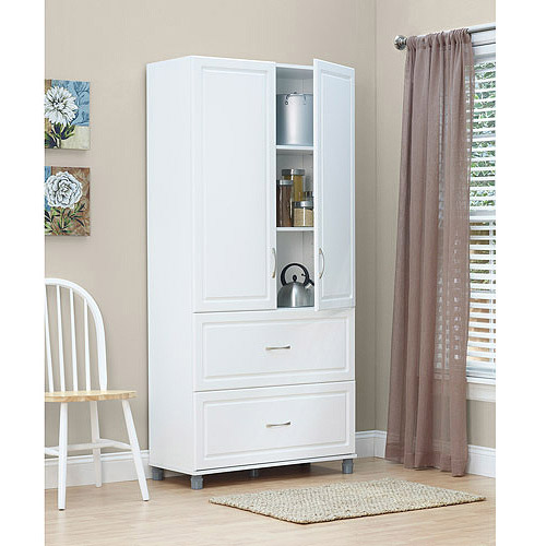 : white media storage cabinet with doors freestanding