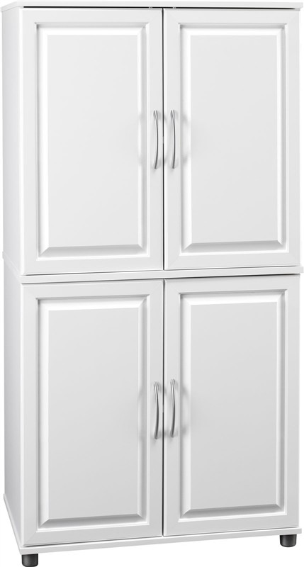 : white oak storage cabinet with doors