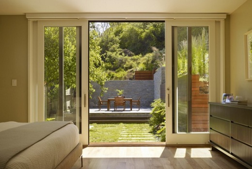 : french patio doors with blinds between glass