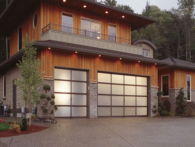 : contemporary wood garage doors