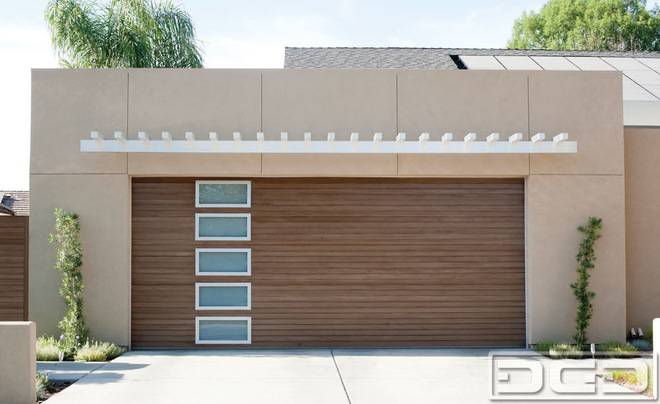 : fitted custom wood garage doors with windows for modern garage opener design ideas in contemporary residential house