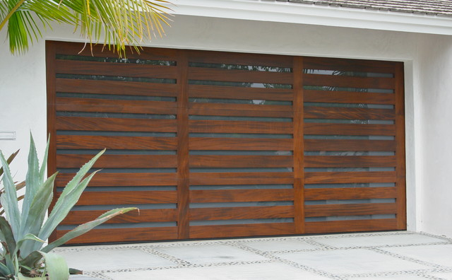 : modern wood garage doors
