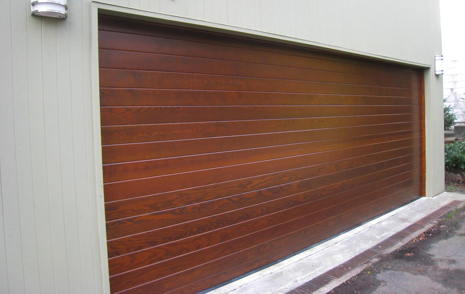 : modern wood insulated garage doors ideas for contemporary residential house