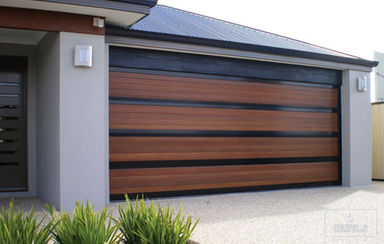 : wooden garage doors mid century modern house
