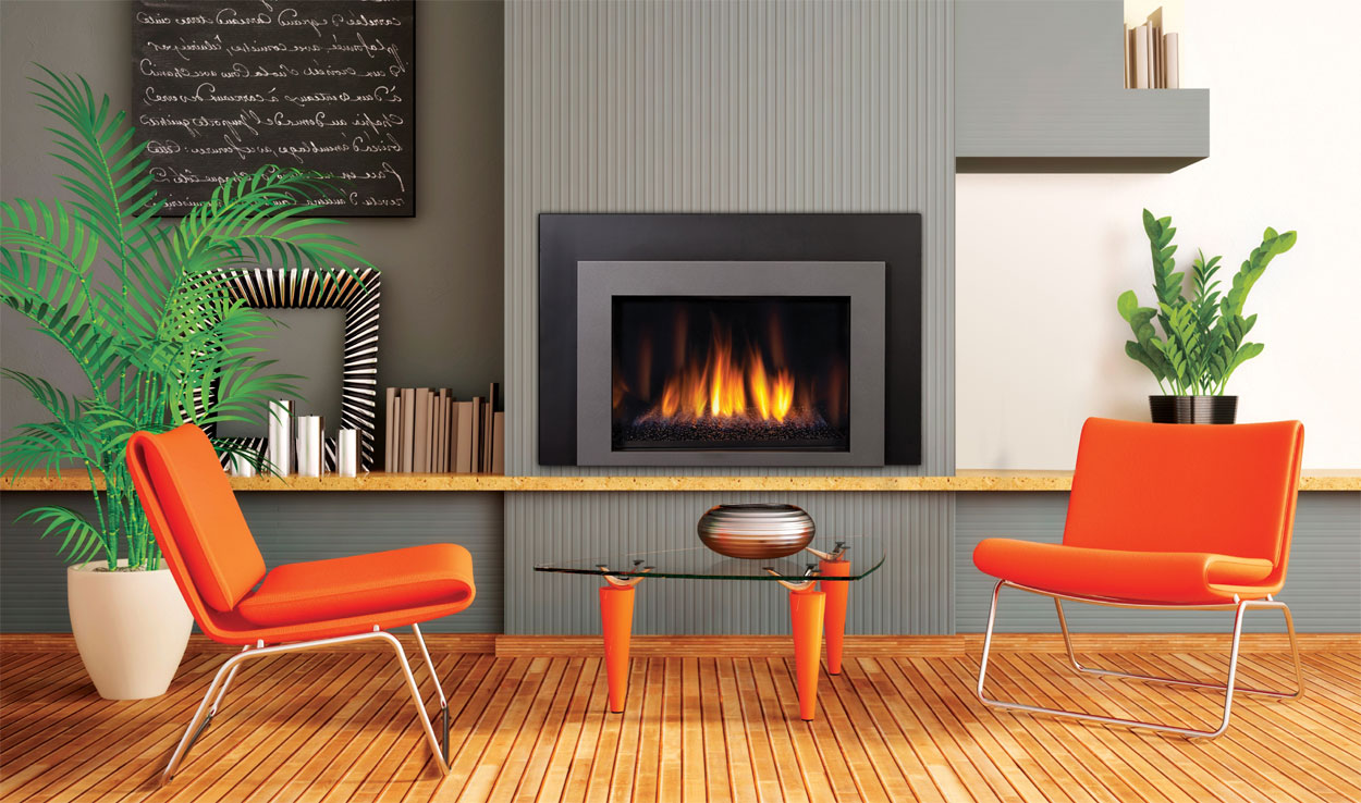 : contemporary living room design with modern fireplace glass door with orange chairs