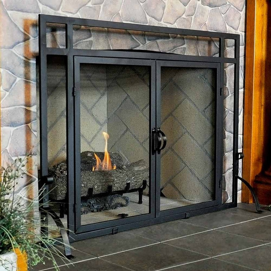 : fireplace glass door hinges