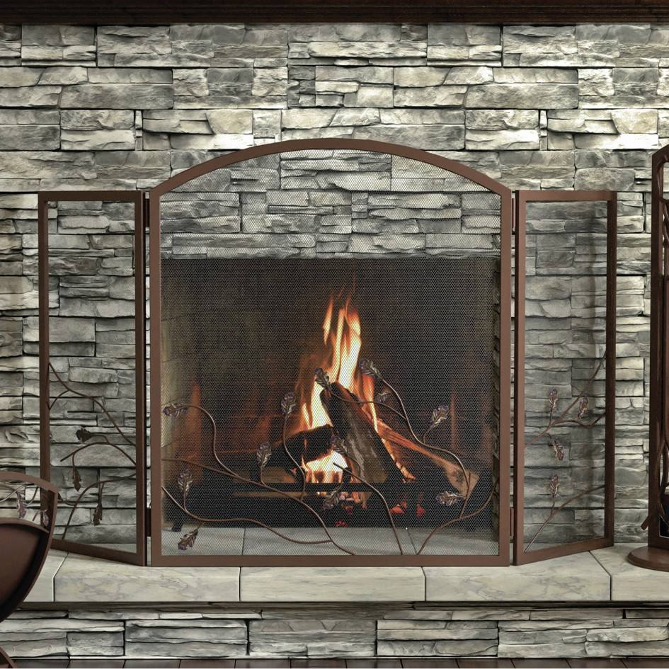 : glass door fireplace screens