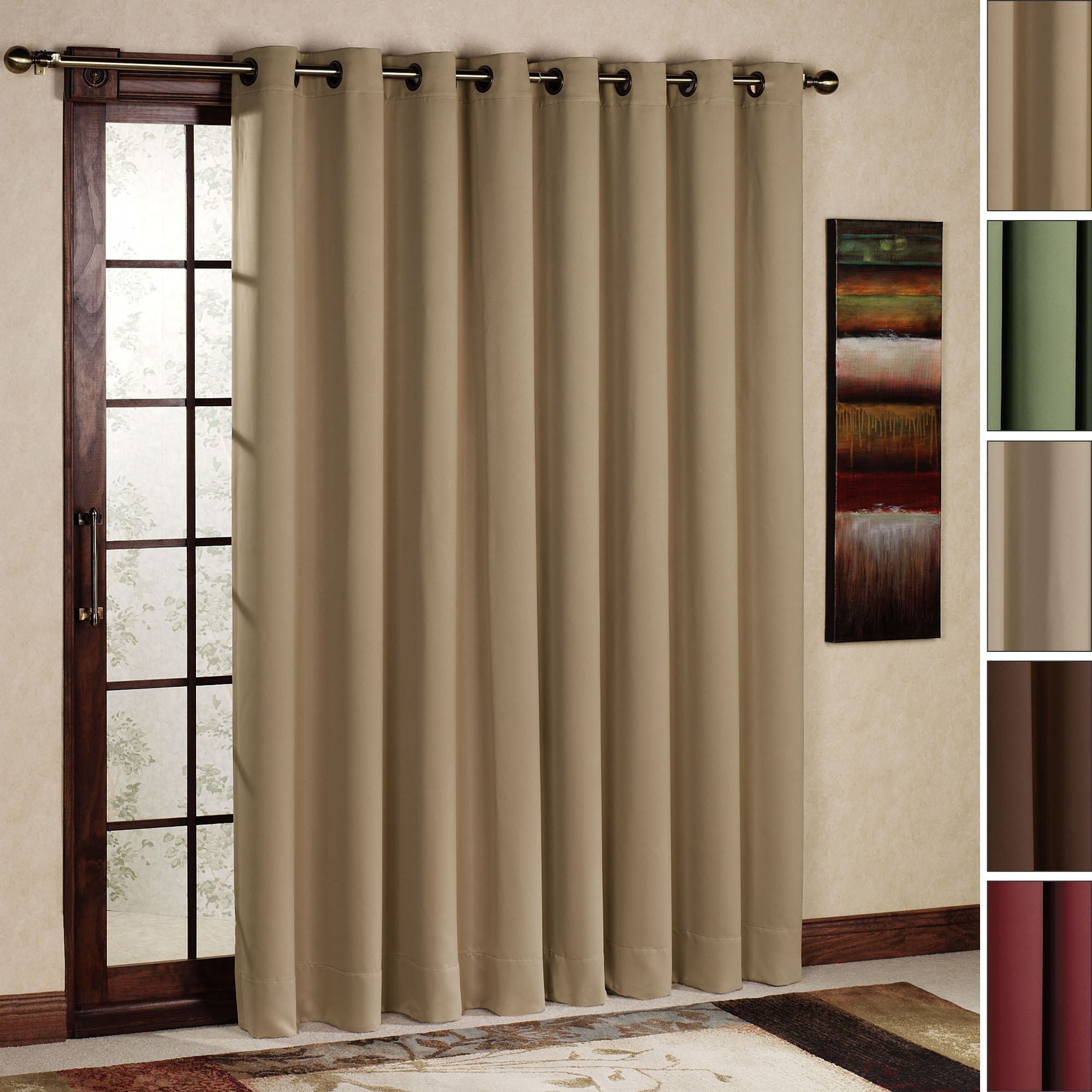 : Grey Patio Door Curtain With Awesome Rod