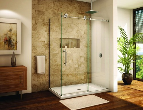 : modern frameless shower doors glass with cool rain shower design and grey wall backsplash ideas