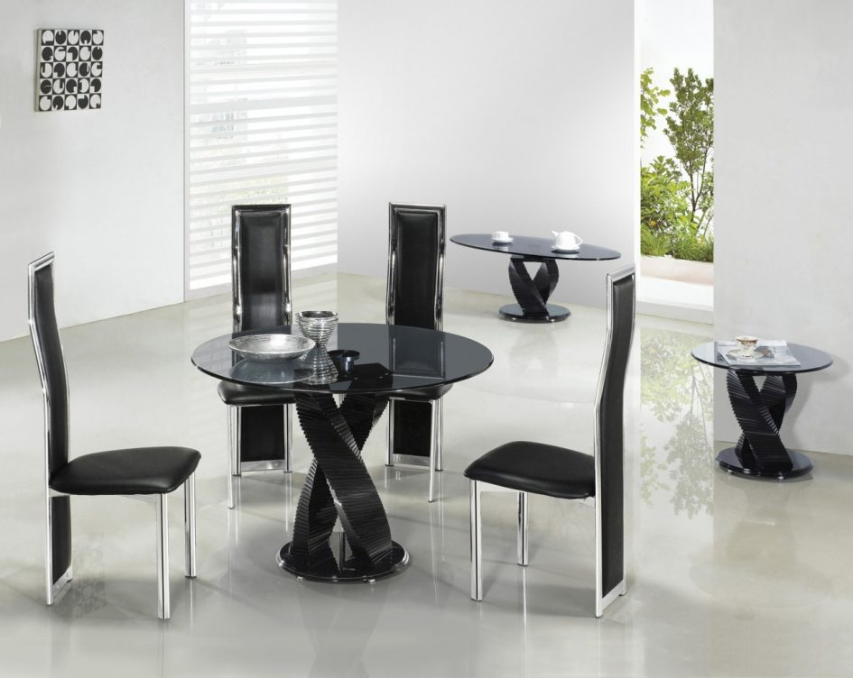 amazing-black-leather-contemporary-dining-room-chairs-chrome-dining-room-chairs-frame-round-glass-top-dining-table-unique-table-base-design-glo