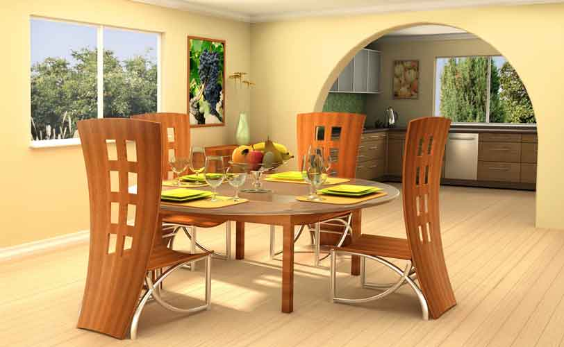 : contemporary round wood dining room tables