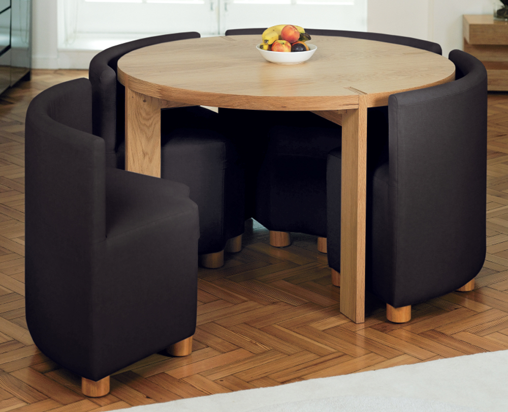 : dining room beautiful black brown wood unique design small space dining room tables round shape wood mahogany black chairs fruits top