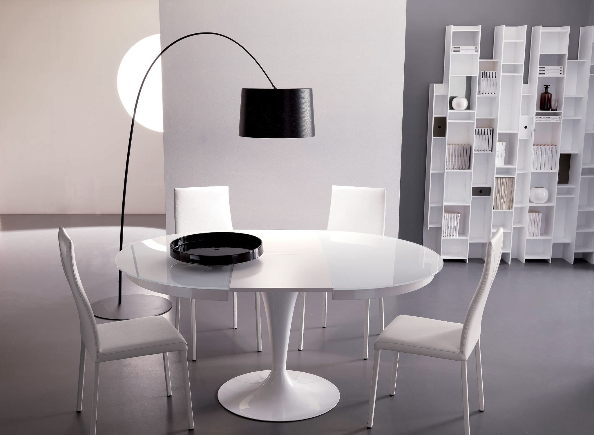 house-furniture-dining-room-fashionable-white-pedestal-round-dining-table-with-simple-white-dining-chair-also-sweet-black-shade-floor-lamp-also-open-target