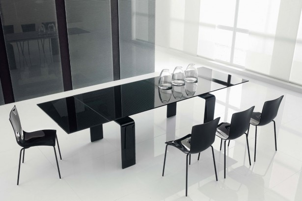 Modern Dining Room Rectangular Black Glass Dining Table Black Metal Dining Chair Black Dining Set Design White Ceramic Tiled Floor White Blind White Framed Window Natural Lighing