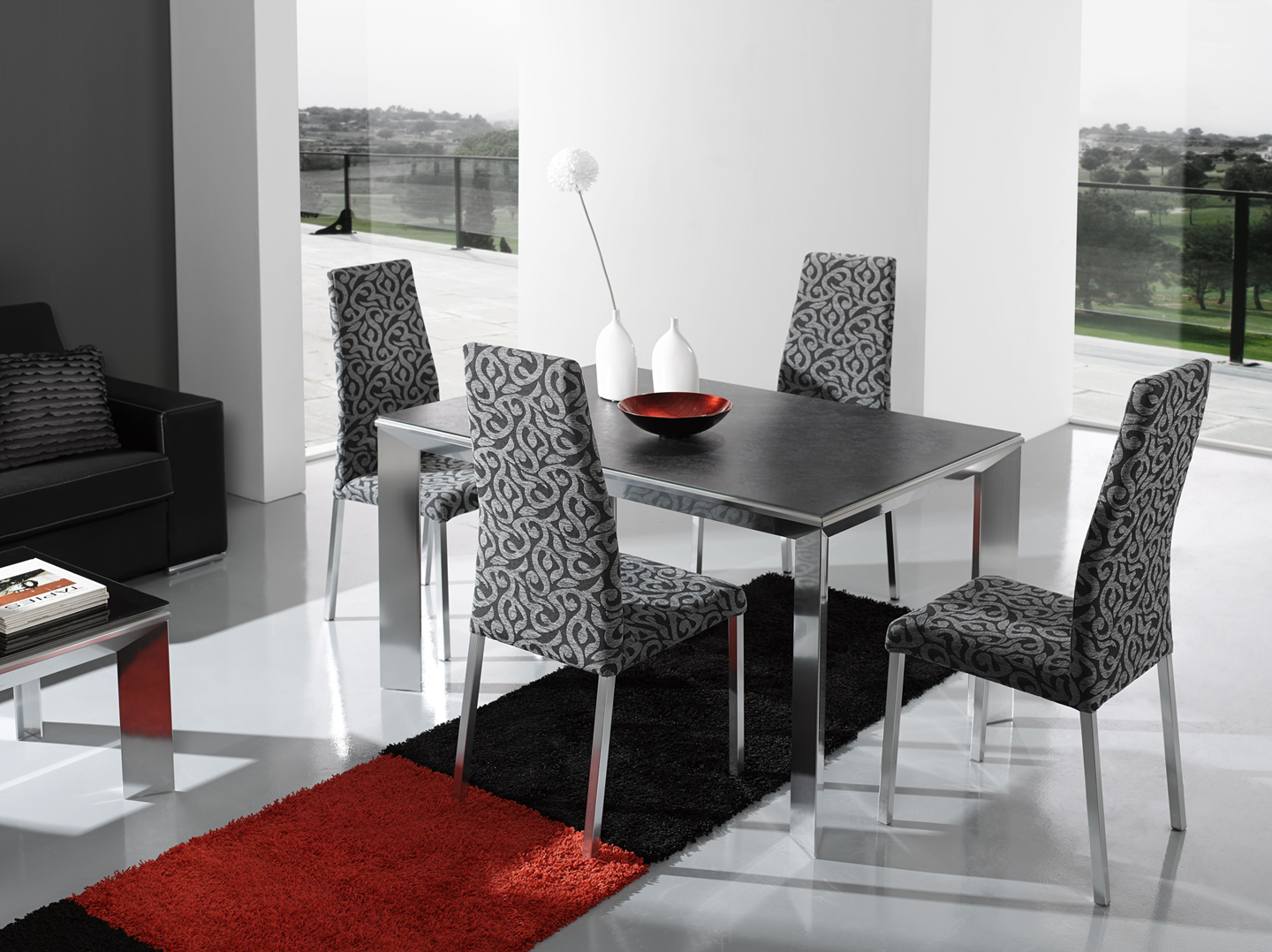 Modern-Dining-Sets-with-cool-grey-chairs-and-table-with-black-carpet ...