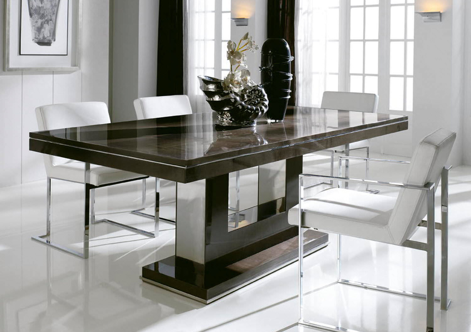 Modern Dining Tables Orange Shine Shining Contemporary Simple Great Chocolate Brown Wooden Table Black