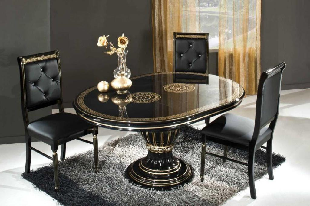romantic-black-dining-room-sets-with-leather-chairs-with-tufted-back-reclining-mixed-with-contemporary-round-table-and-fur-rug