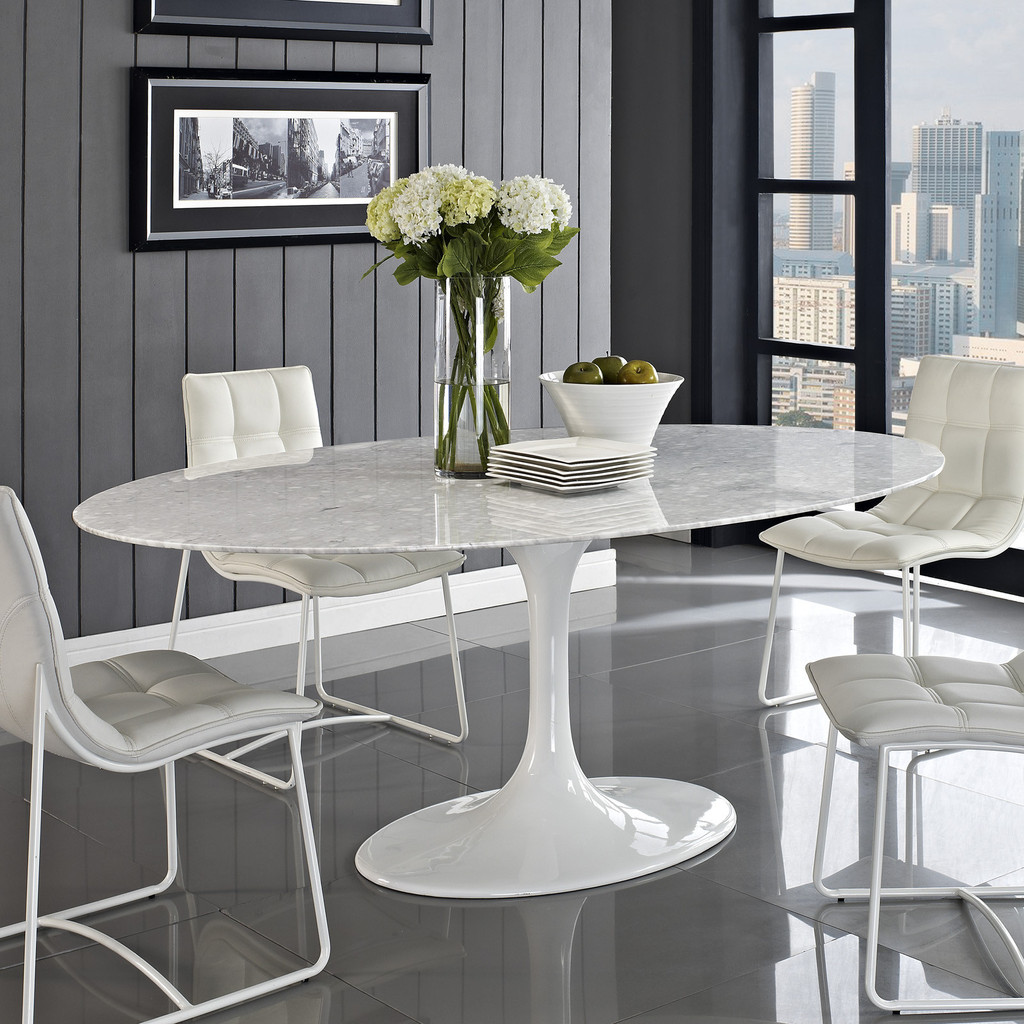 : white marble dining room table