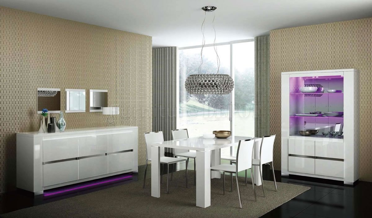 White Modern Dining Sets With White Chairs Rectangular Wooden Table On Cream Rug Under Chrome Pendant Light And Glass Display Shelf