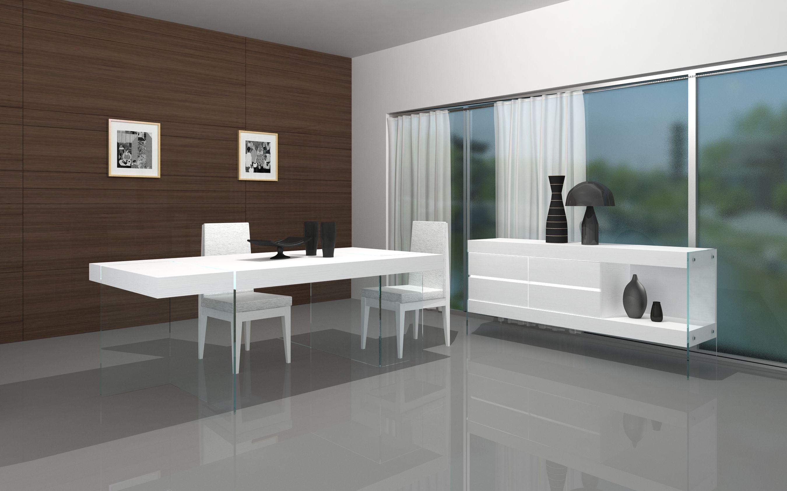 White Modern Dining Table With Glass Base With Chairs And Server In Beautiful Dining Room