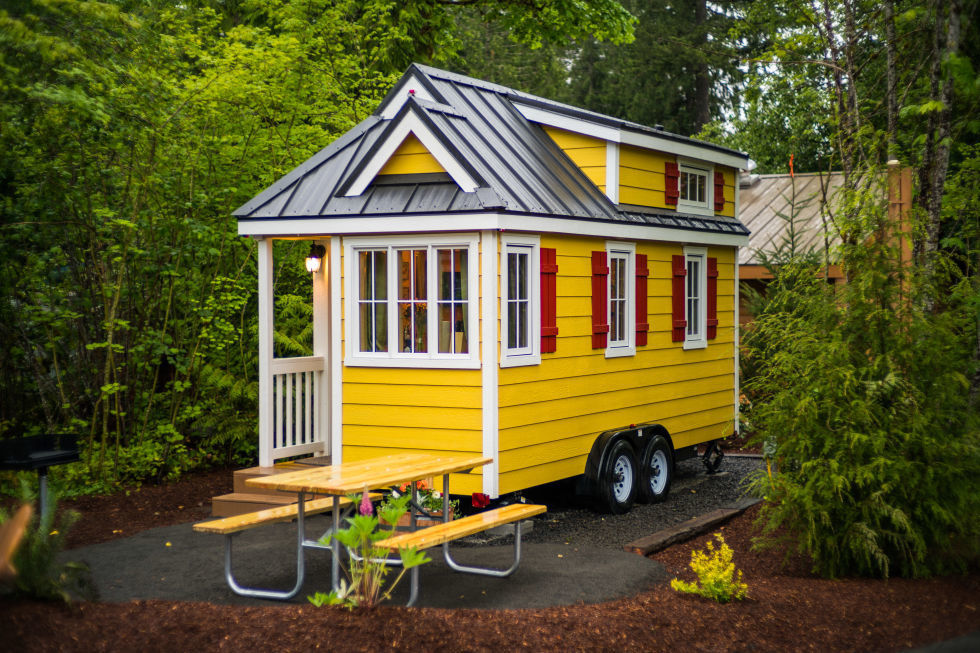 : Yellow Tiny House Design For Small Living